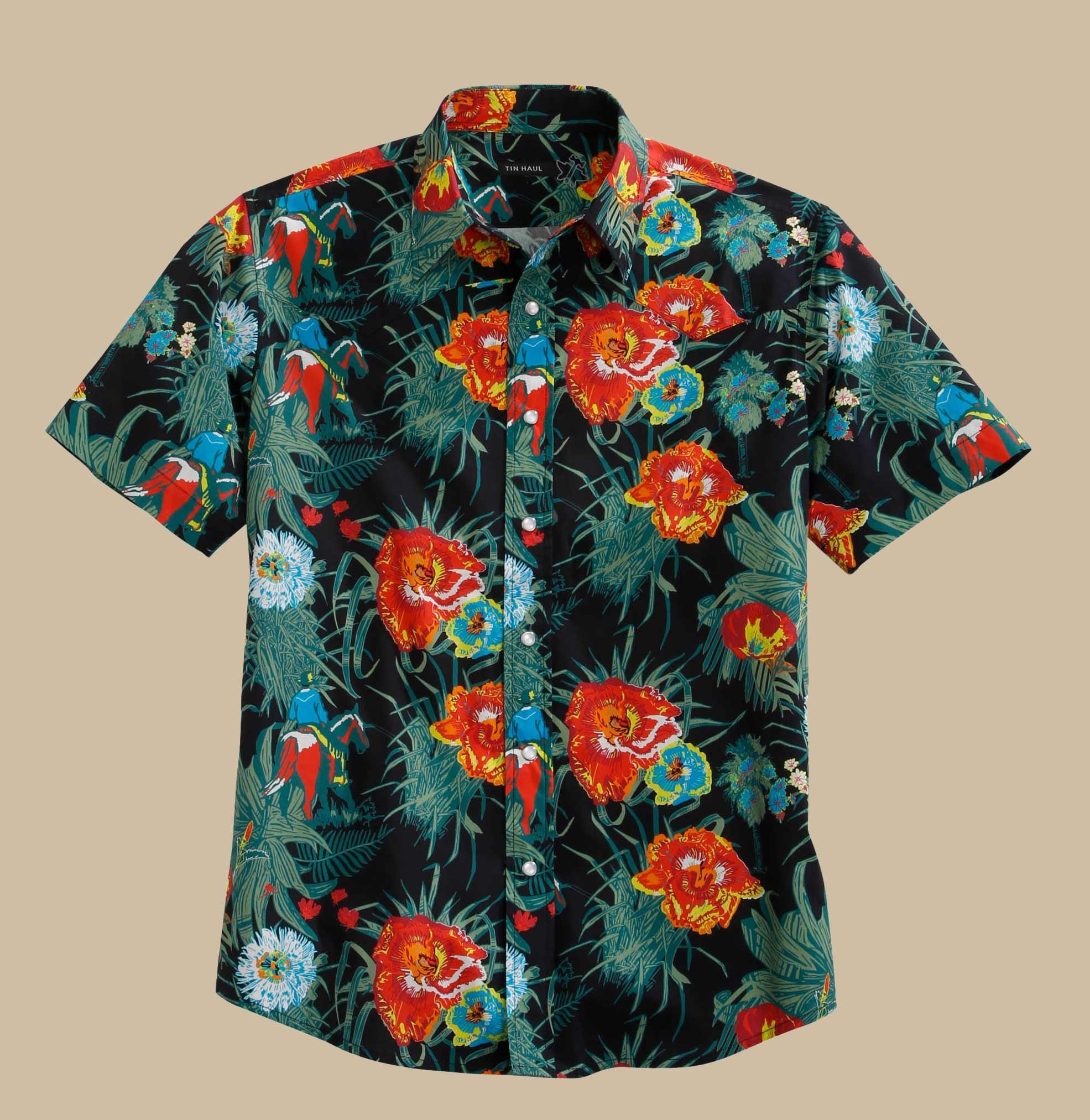 Tin Haul Men/'s Blue Purple White Print L//S Snap Shirt 10-001-0064-0255