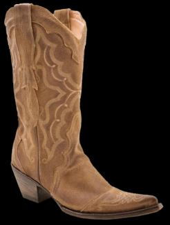 Stetson Ladies BURNISHED TAN SUEDE MULE EAR Cowboy Boot