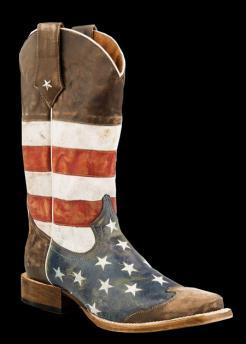 110f197865b Roper Men's AMERICAN FLAG - SQUARE TOE BROWN TOE CAP Cowboy Boot