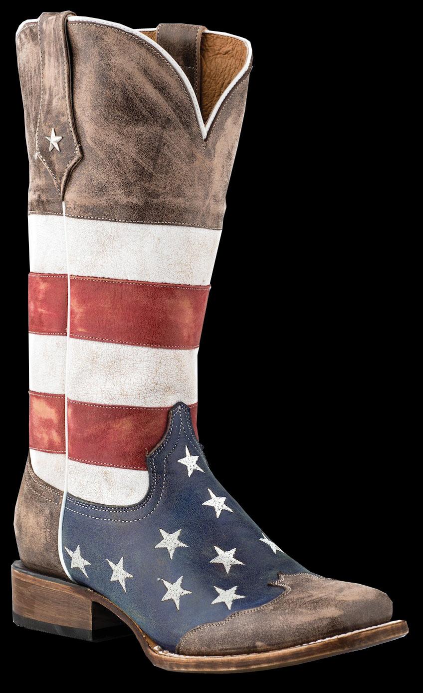 0a6058adb4c Roper Ladies AMERICAN FLAG SQUARE TOE-BROWN TOE CAP Cowboy Boot
