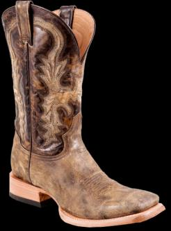 Stetson Men's DISTRESSED & SANDED BLACK LEATHER Cowboy Boot