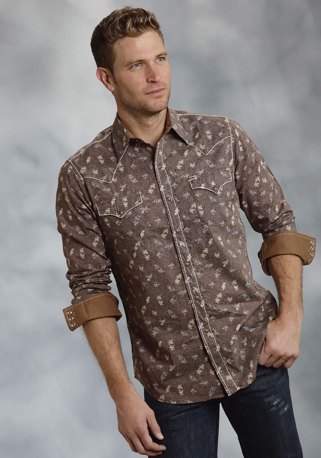 Roper Men 39 S Vintage Floral Dot Western Shirt