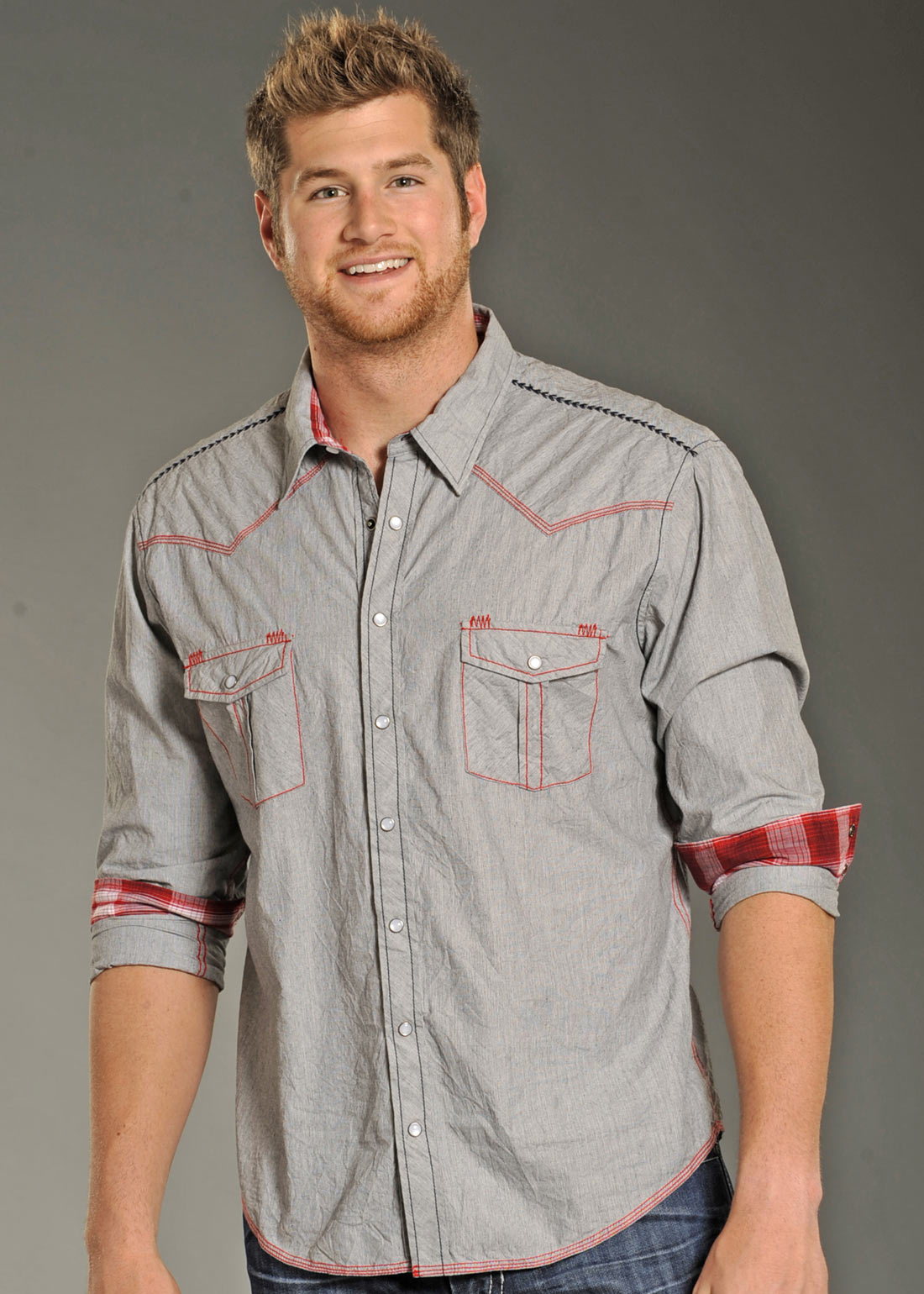 f3f2d06f5a PANHANDLE SLIM Men's STRIPE WITH CONTRAST TOPSTITCHING SHIRT
