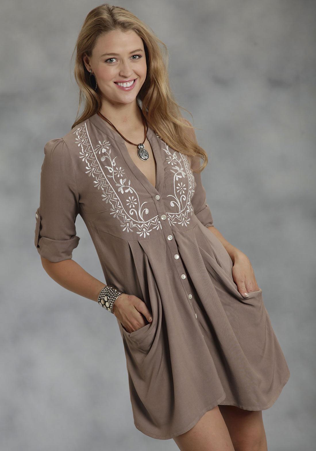 Roper women 39 s rayon tunic w embroidery for Womens denim tunic shirt