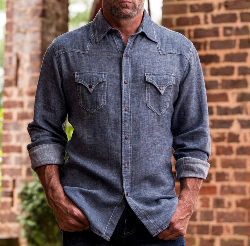 a09a7d8ea7 Ryan Michael Men s Cotton Linen Chambray Western Shirt