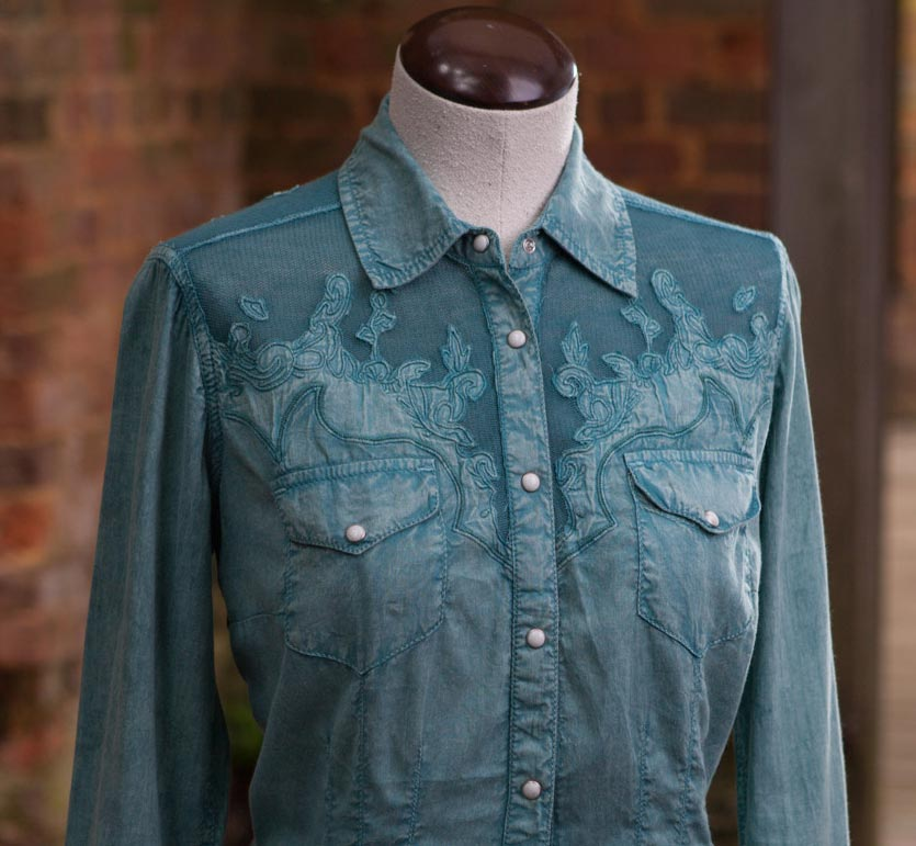 ryan michael women 39 s lace yoke western shirt 3 colors