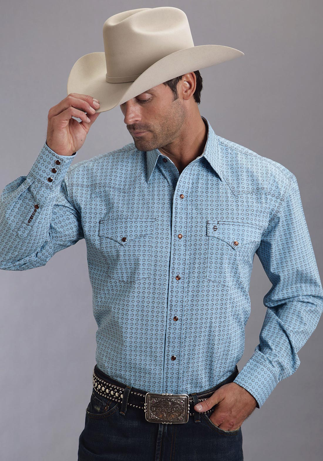Stetson Men S Blue Small Box Poplin Print Western Shirt
