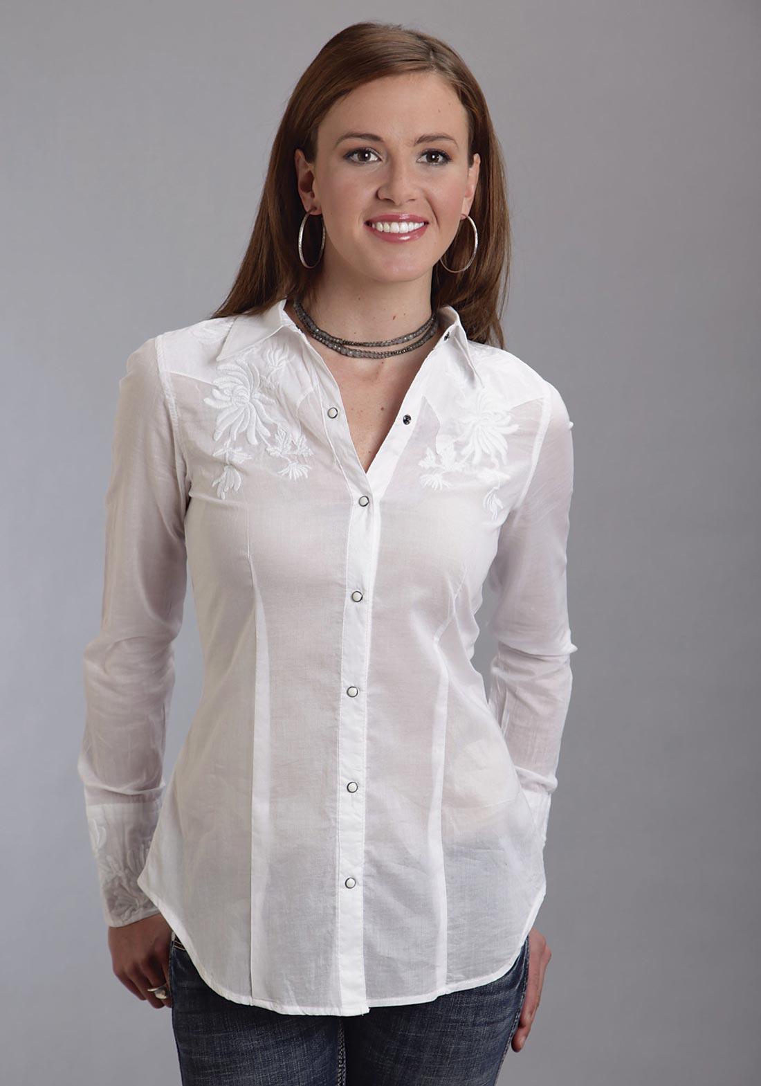 Stetson women 39 s white voile long sleeve shirt for White shirt for ladies
