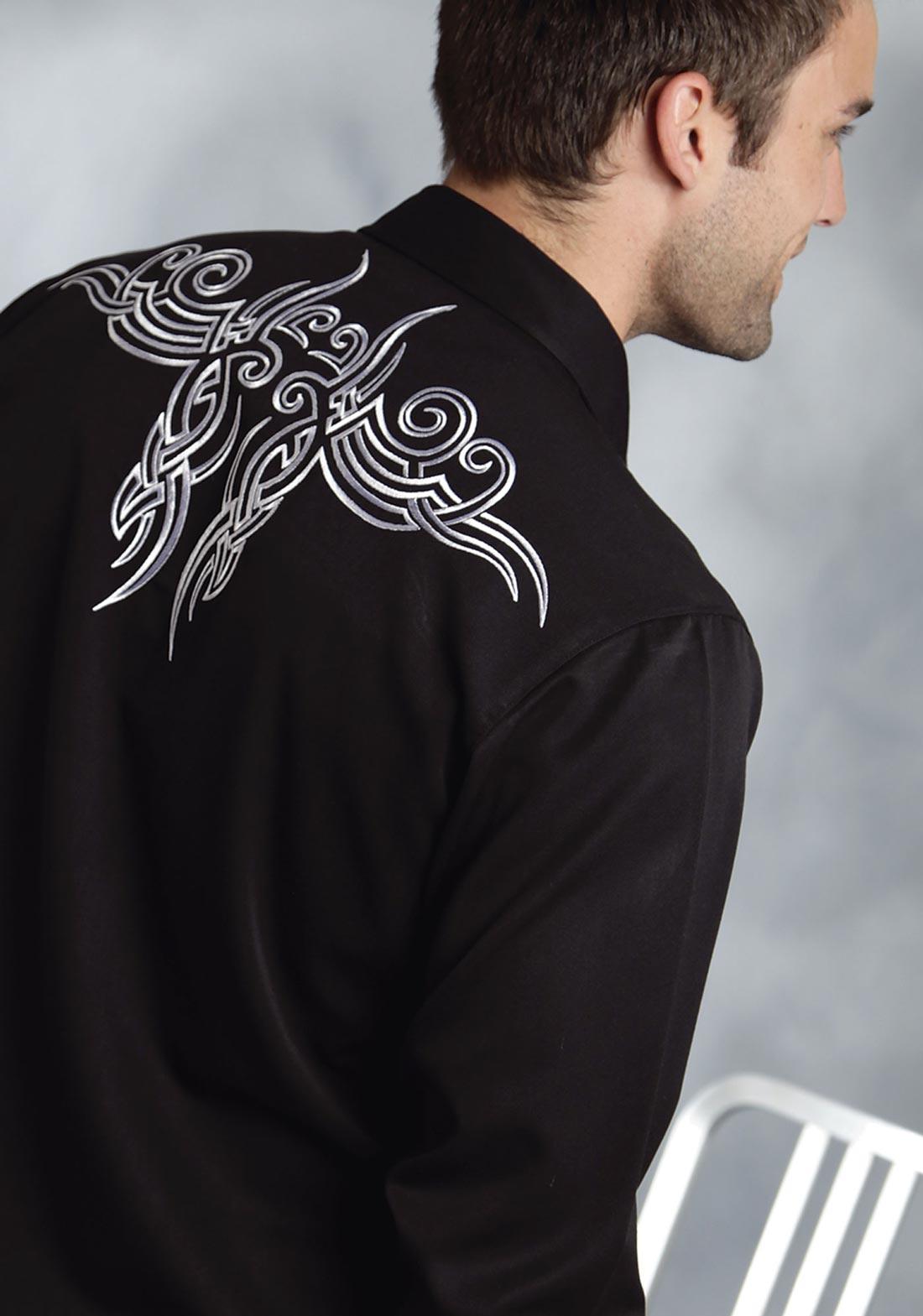 Roper men 39 s tribal tattoo western shirt for Tribal tattoo shirt