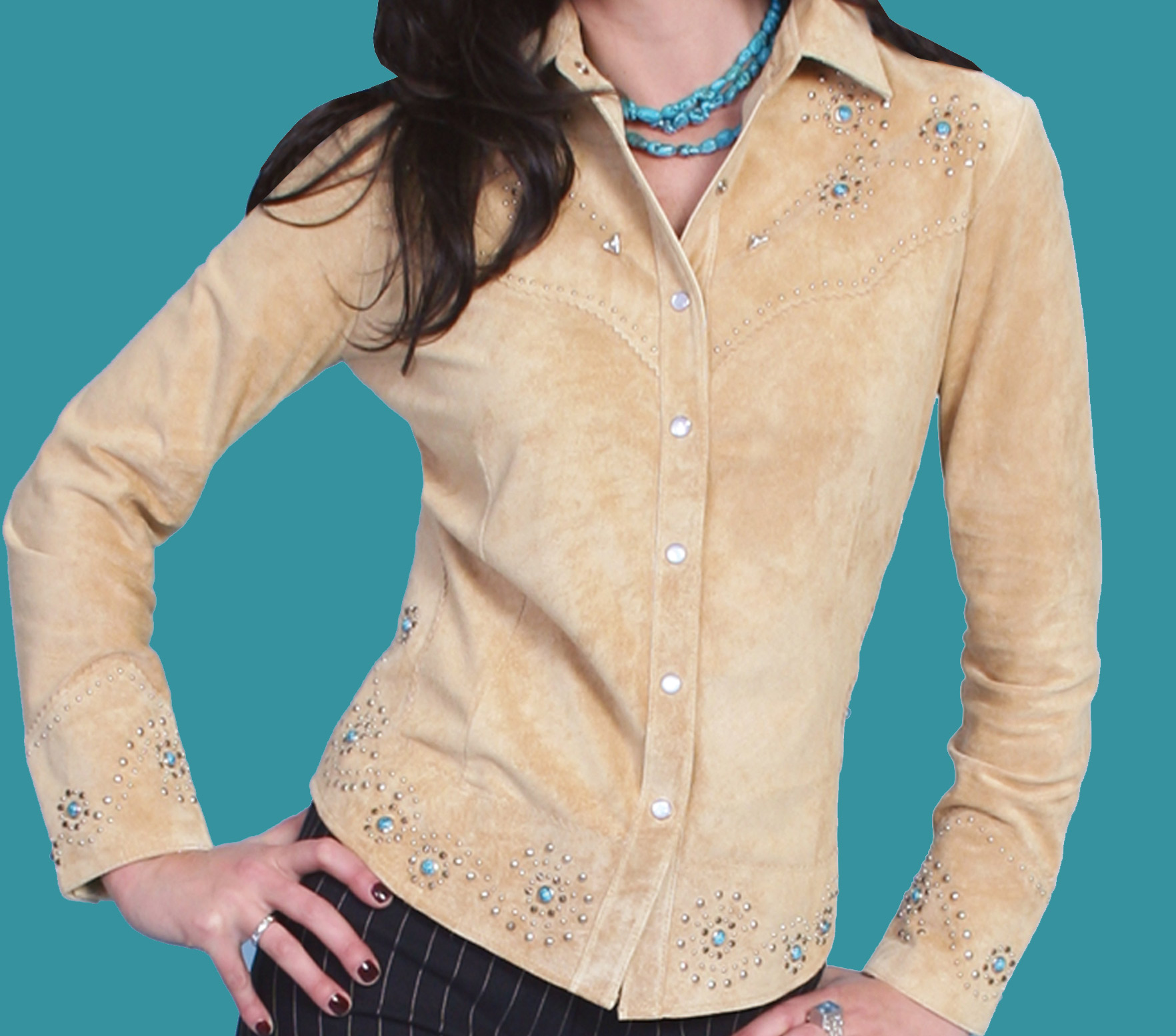 Scully Women's Boar Suede Studded Shirt