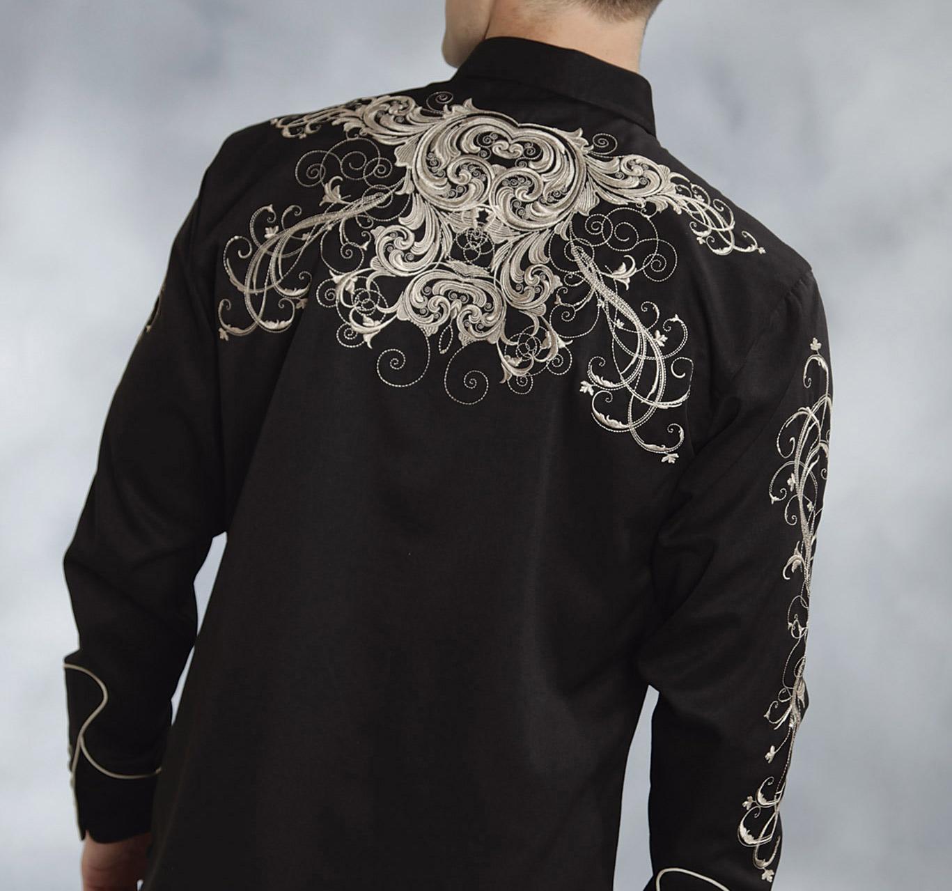 Roper men s twill w swirl pattern embroidery western shirt