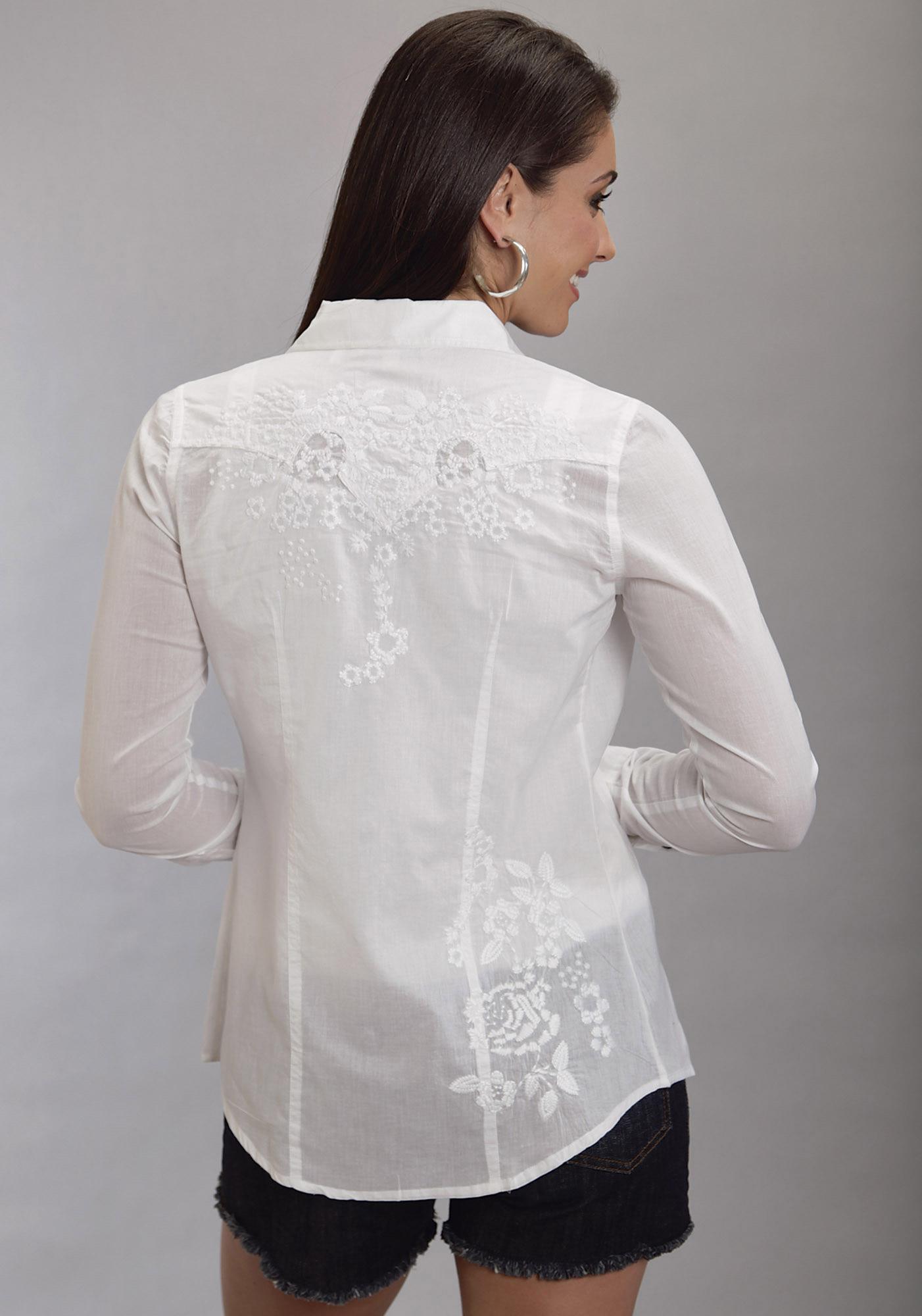 Stetson Women's Crisp White Cotton Lawn Western Shirt
