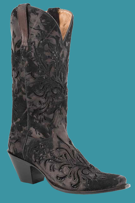 stetson s brown laser cut metallic cowboy boots