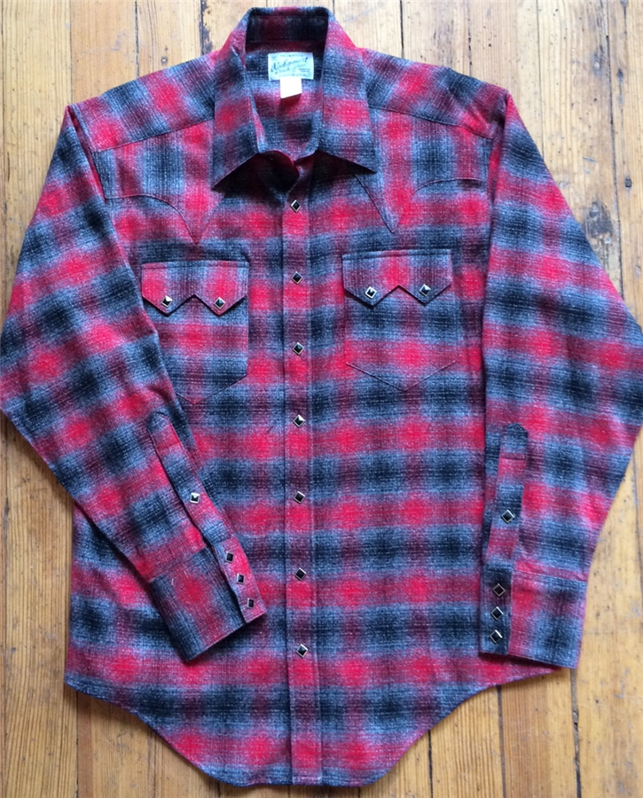 317b44bf Rockmount Men's Flannel Plaid Western Shirt- Red/Grey