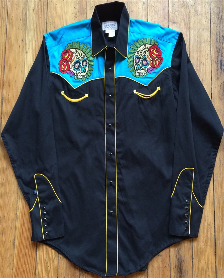 rockmount s 2 tone embroidered sugar skull western shirt