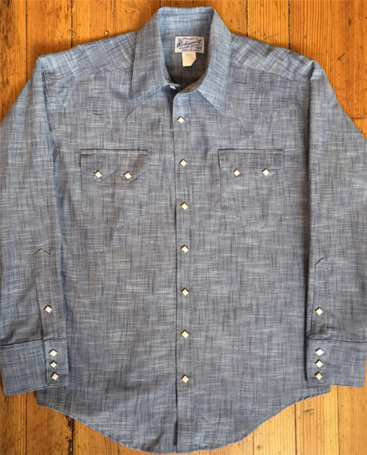 17c381da09 Rockmount Men s Vintage Cross Hatch Chambray Western Shirt