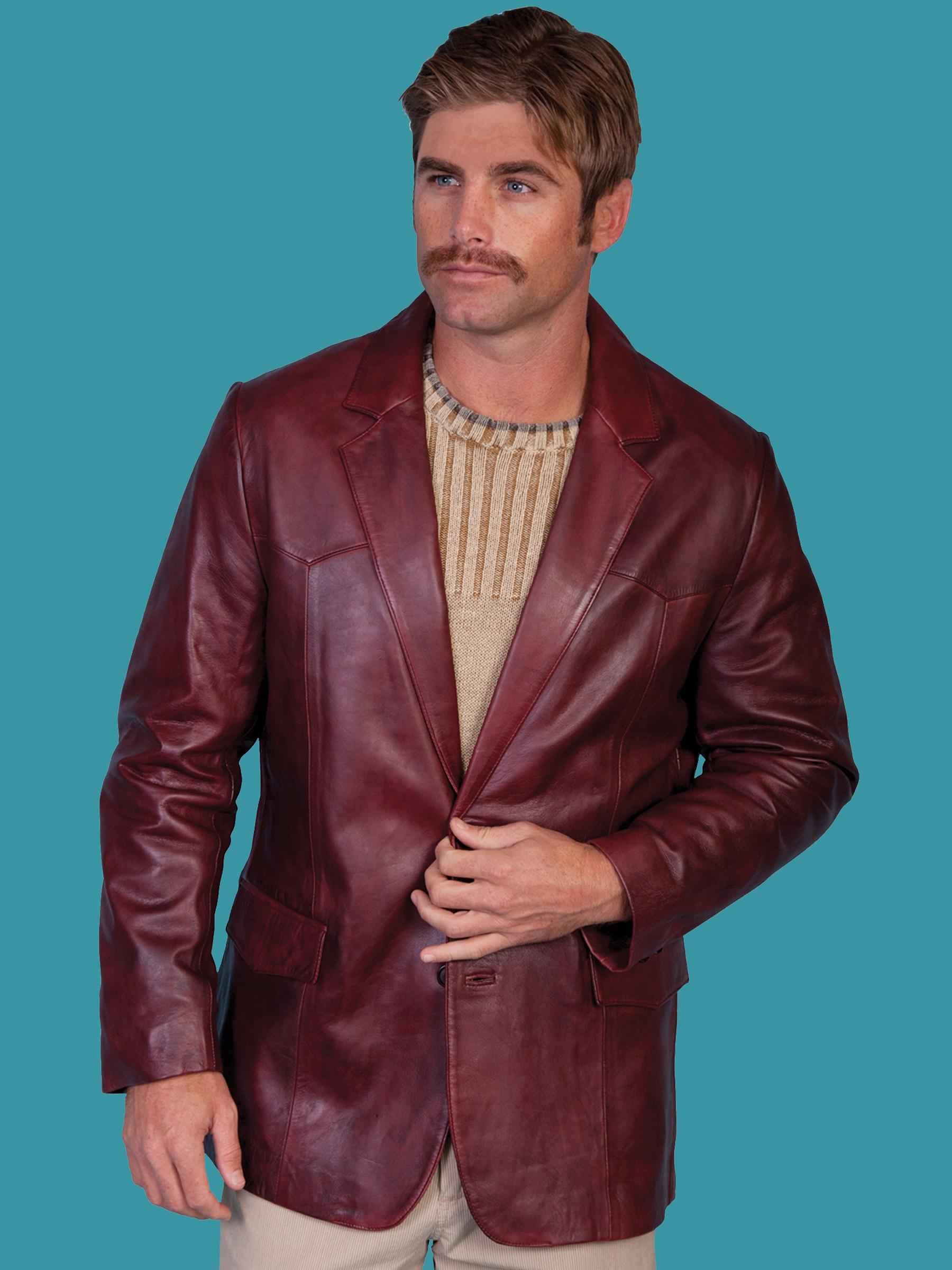 1c21ef0f768a Scully Men s BLACK CHERRY Leather Blazer