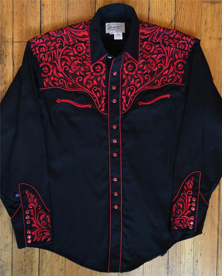 a87b7fcf Rockmount Men's Vintage Tooling II Embroidered WESTERN SHIRT-BLK/RED