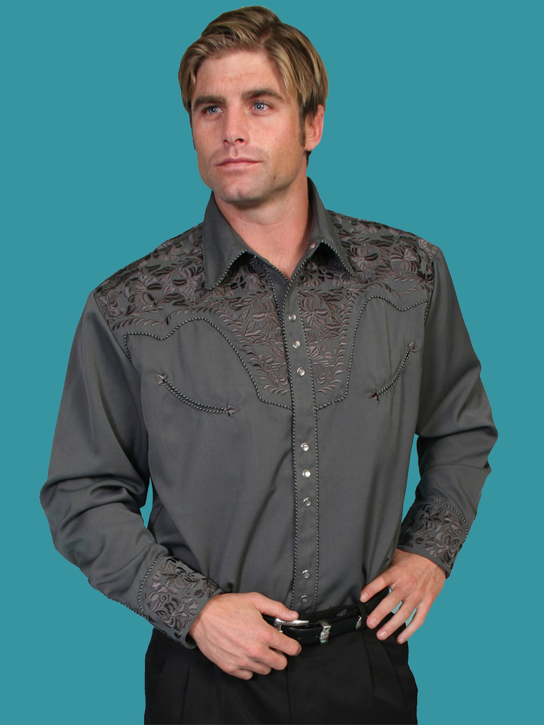 Scully Men/'s Pewter Embroidered Gunfighter Shirt P-634-PEW