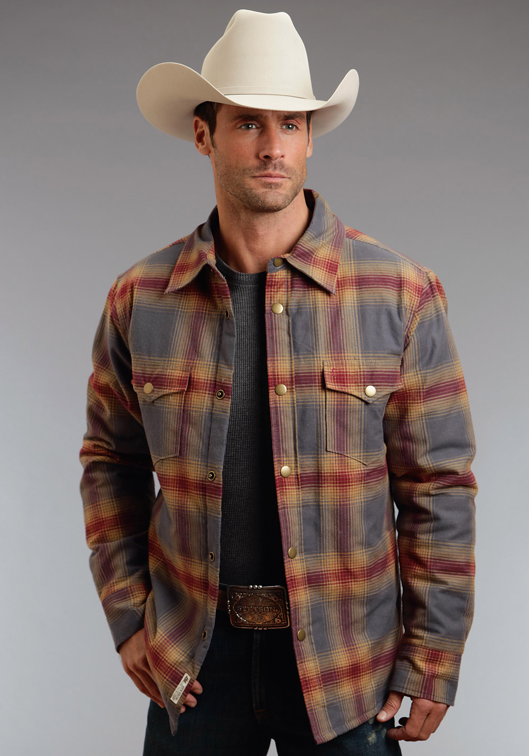 6eef010c73f48 stetson men s cuyanoga plaid western brushed twill jacket
