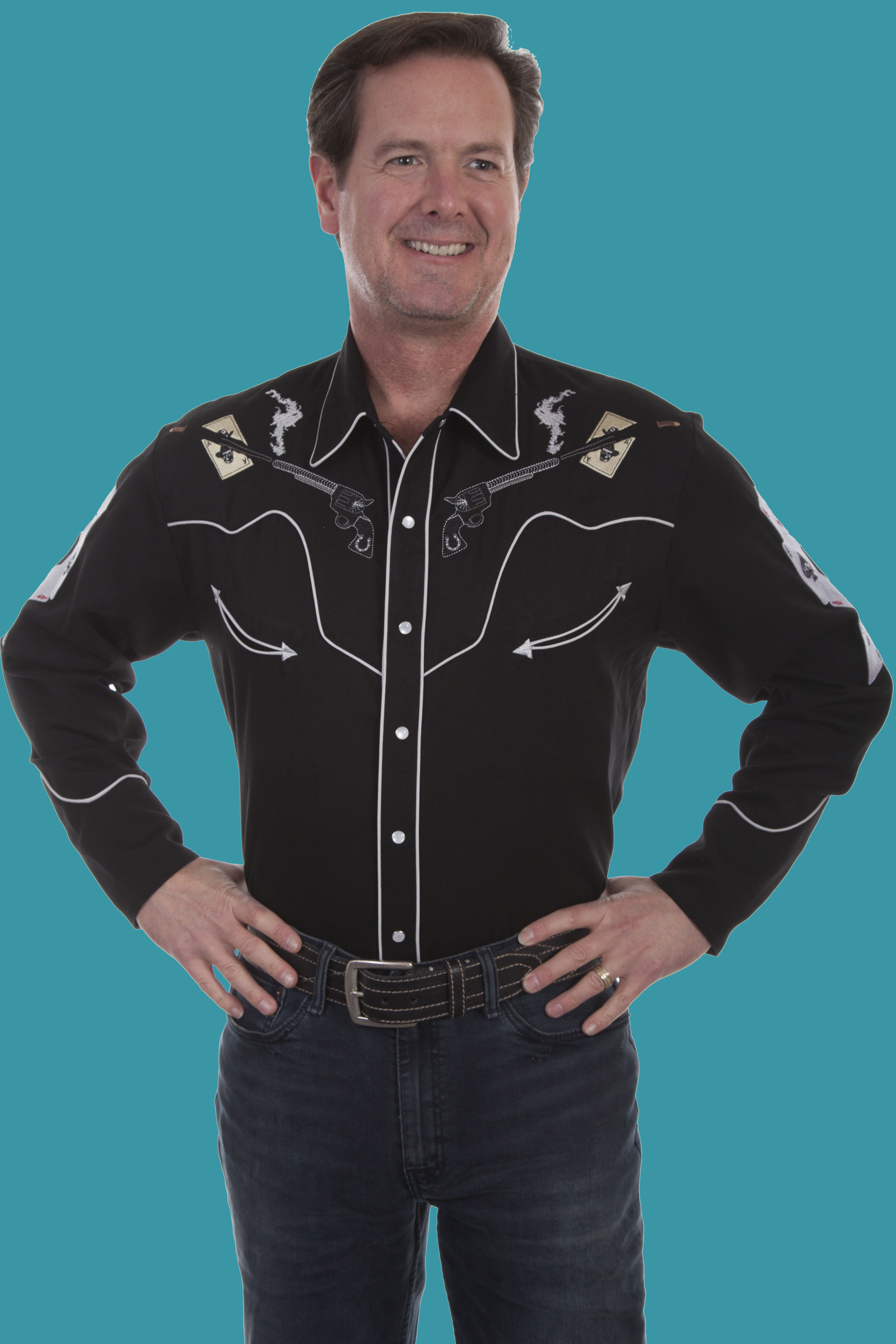 4cc71833d14373 Scully Men's Western Embroider Shirts