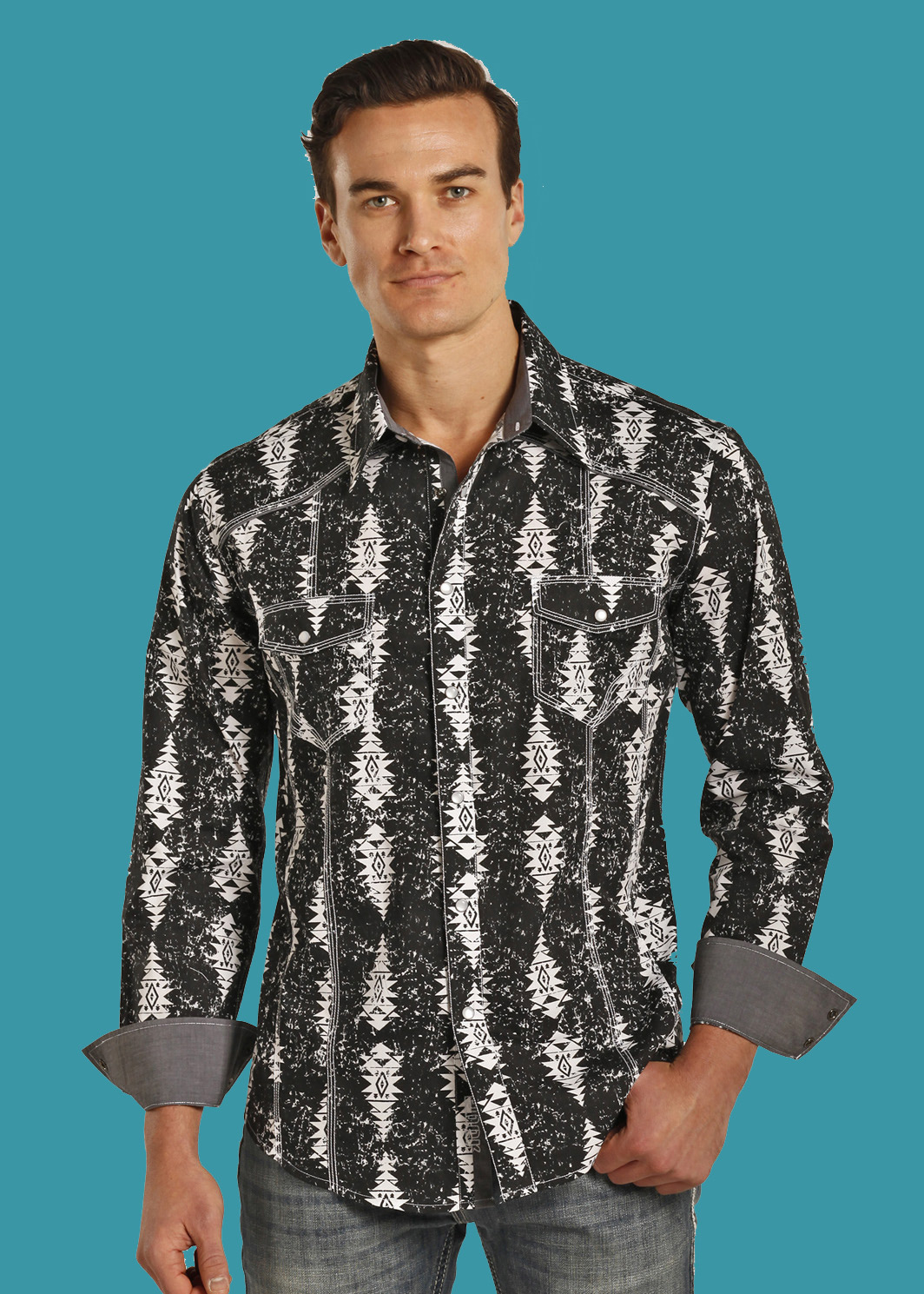 POPLIN AZTEC PRINT Western Snap Shirt