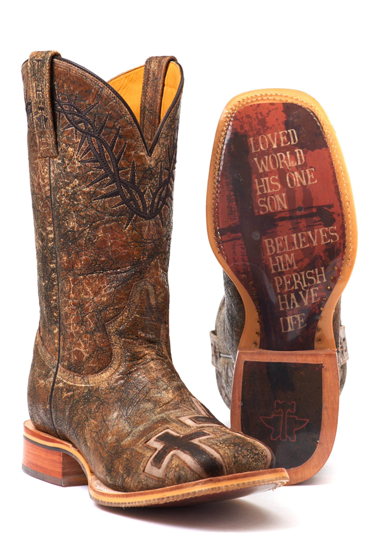 Tin Haul Men's JOHN 3:16 Cowboy Boots