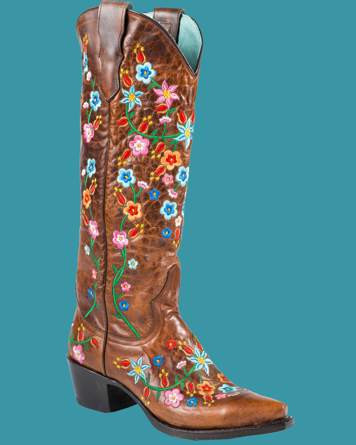 3f88d383852 Stetson Women's Flora Embroidered Western Cowboy Boots