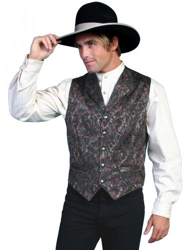 Wahmaker Men's Paisely Vest-GREEN (584844-GRN)