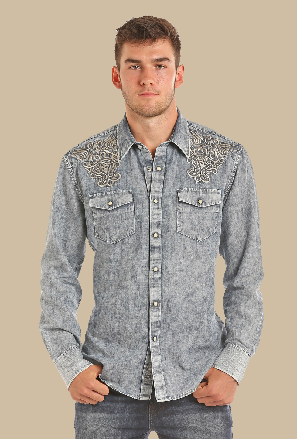 34918eac02 PANHANDLE SLIM MEN S LIGHT BLEACH WASHED DENIM Western ...