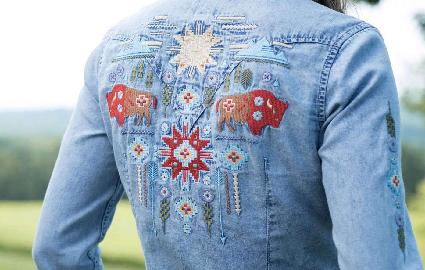 Ryan Michael Women 39 S Embroidered Indigo Denim Western Snap