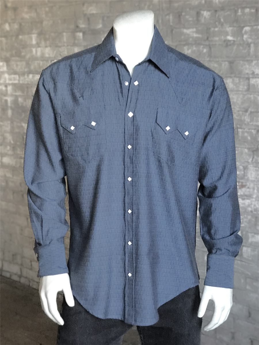 Rockmount men s blue dobby western snap shirt for Mens shirts with snaps instead of buttons
