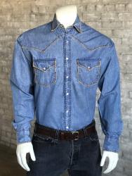 26ea81bb Rockmount Men's Stonewashed Denim Blanket Stitch Western Snap Shirt