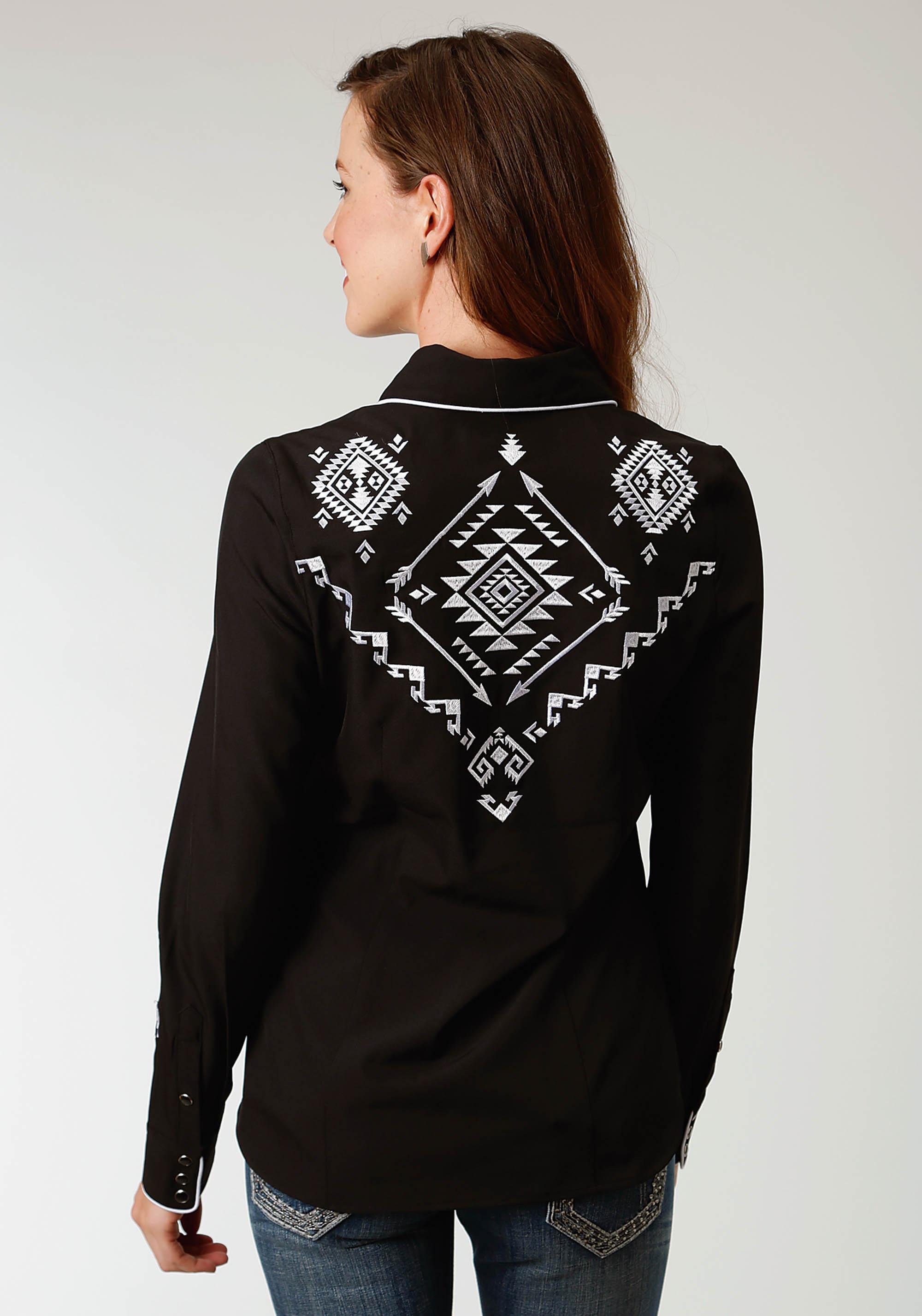 Details about  /Roper Western Shirt Womens L//S Snap Print Blue 03-050-0064-0764 BU