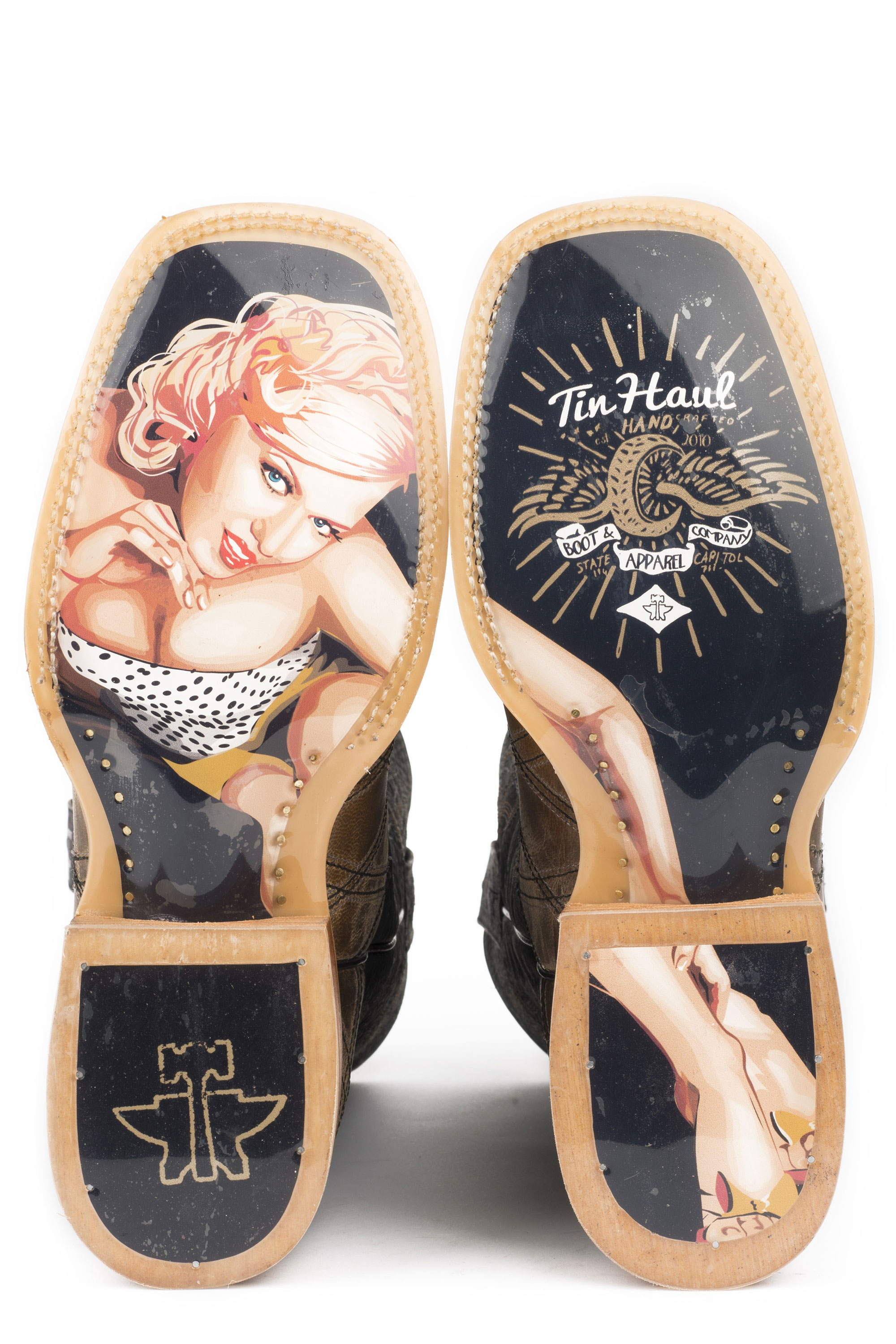 9021cef3323 TIN HAUL MENS WHAT'S YOUR ANGLE / PIN UP GIRL SOLE COWBOY BOOTS