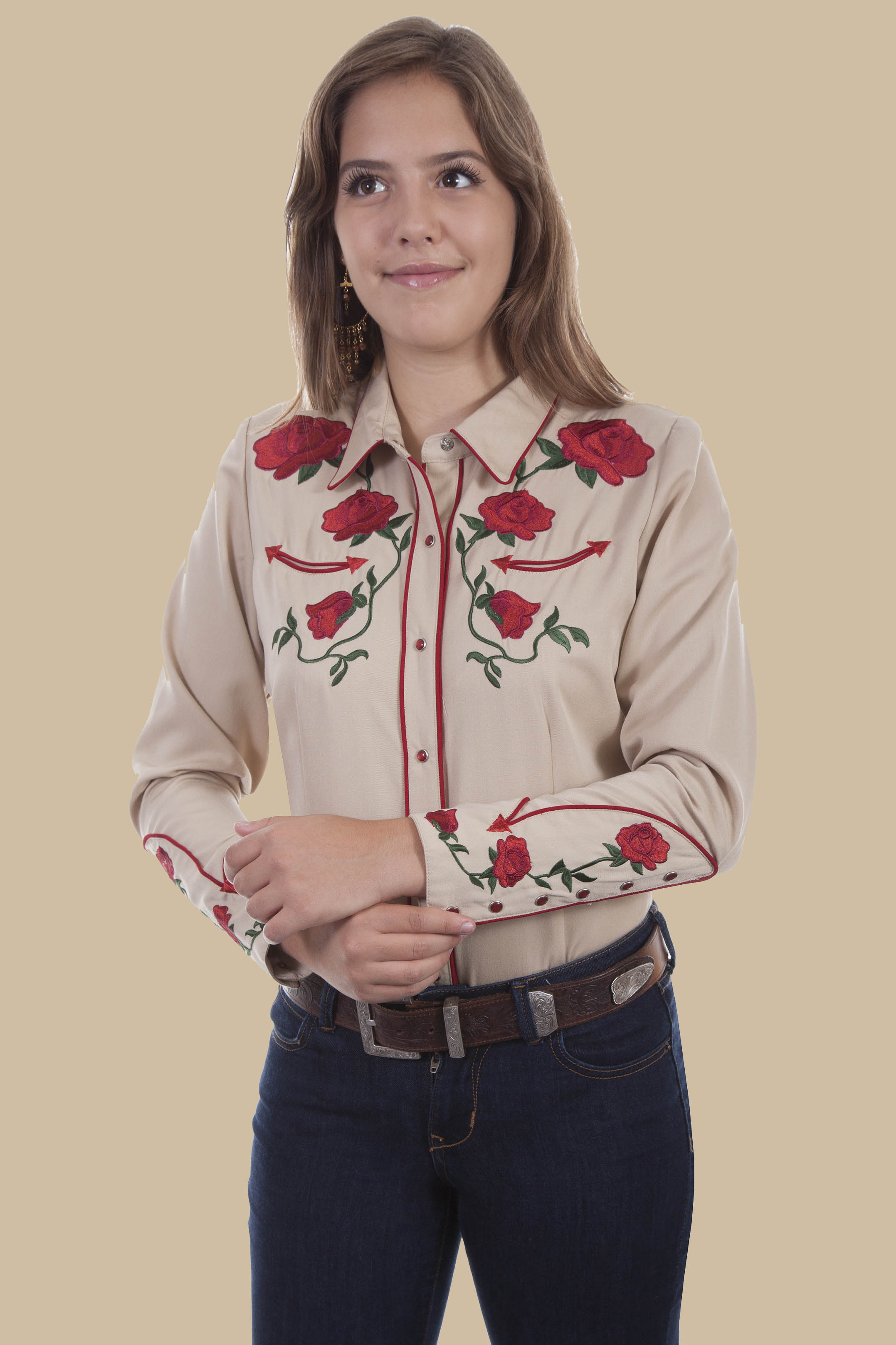 09dc3a3d1434f4 Scully Women's VINTAGE ROSE WESTERN SNAP SHIRT