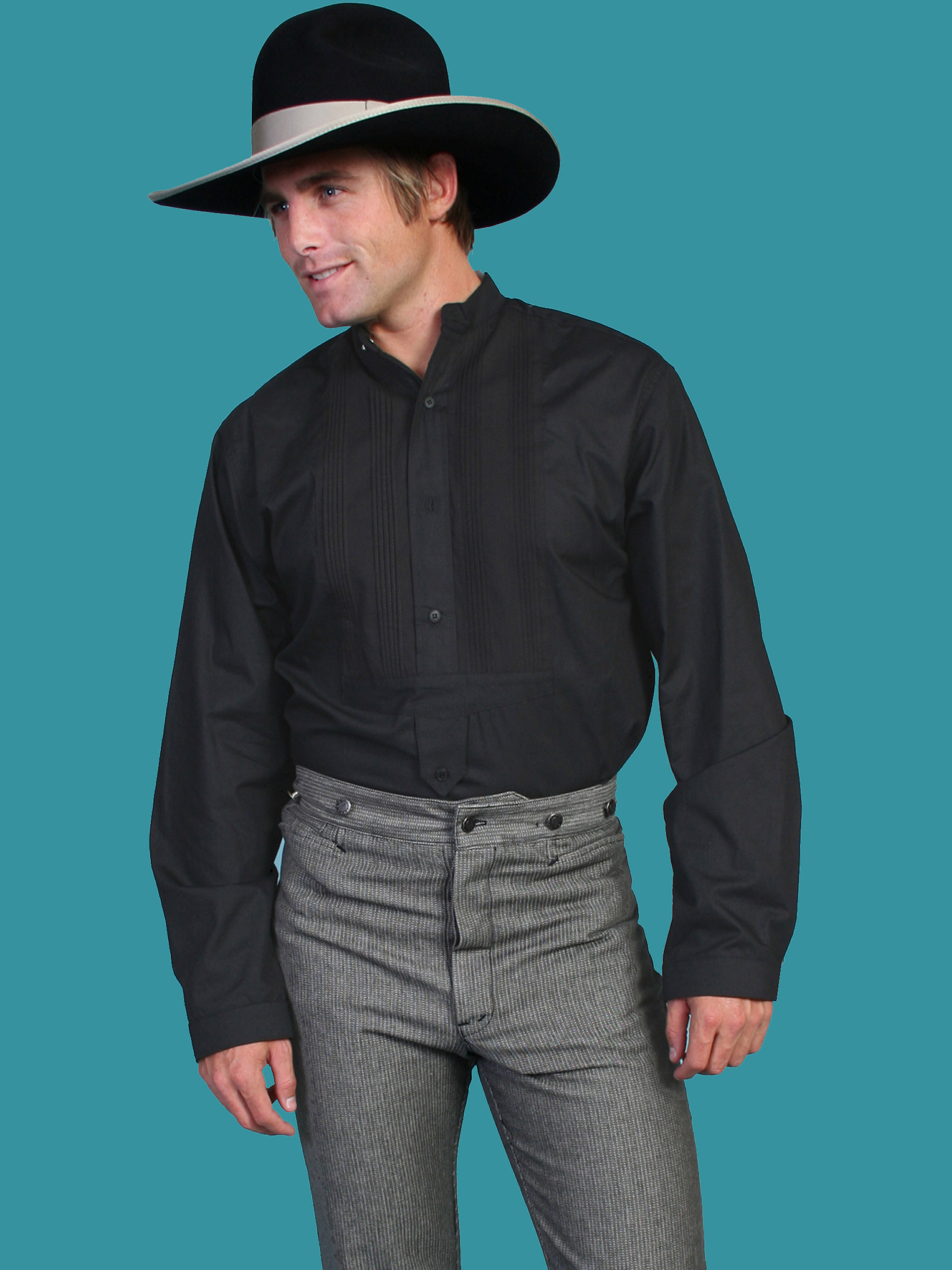 694669ad BIG AND TALL › Rangewear Men's Victorian TUXEDO FRONT SHIRT- BLACK. SCULLY  RW032 BLACK. CLICK or HOVER to ENLARGE