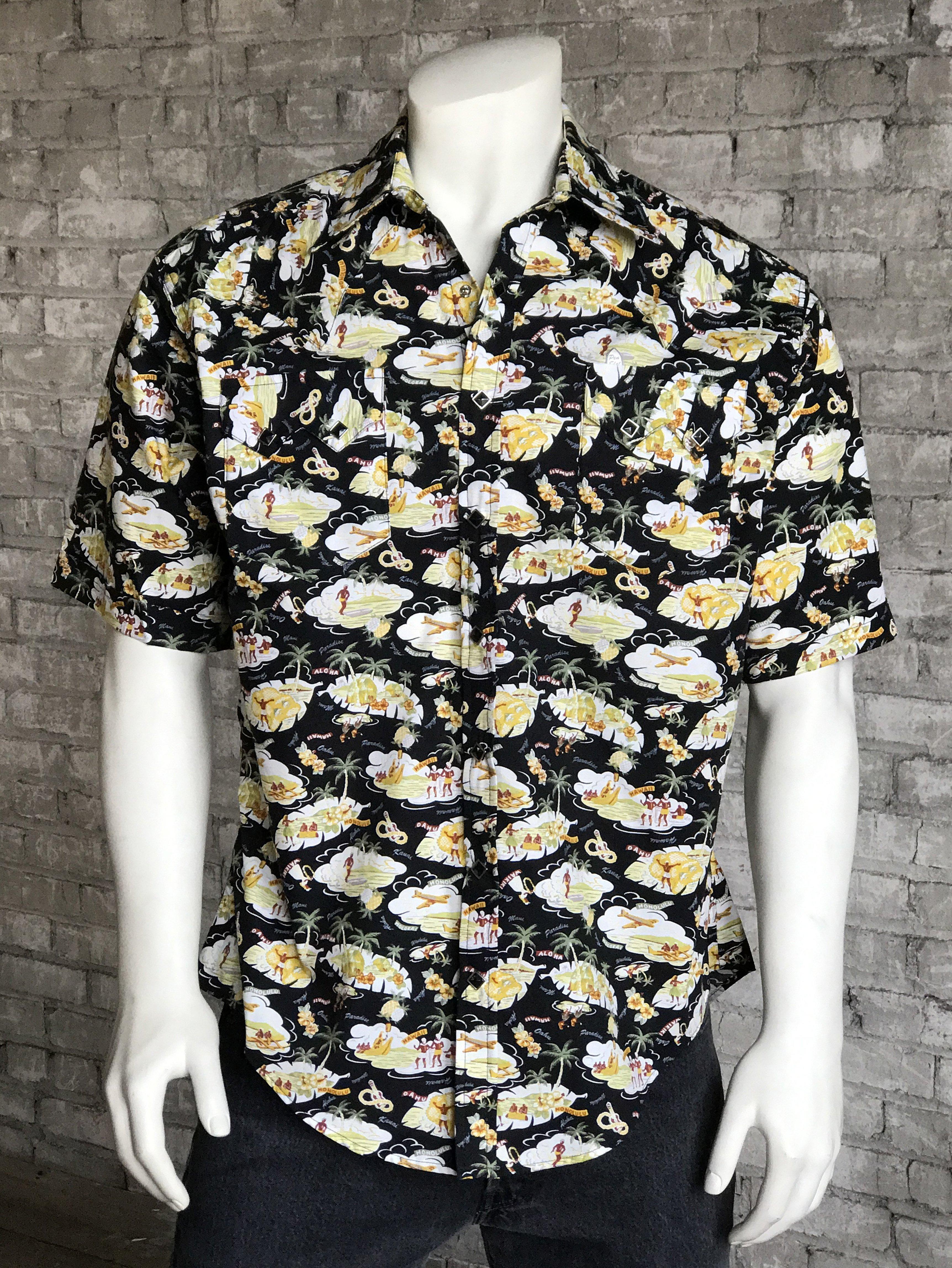 f118595d Rockmount Men's Short Sleeve Black Hawaiian Print Western Snap Shirt