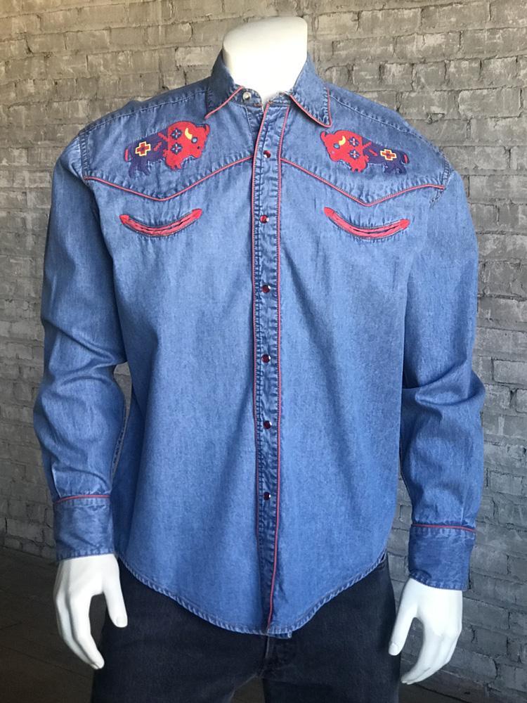44d11c37e3f Rockmount Men s Denim Bison Western Snap Shirt-DENIM