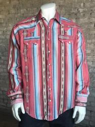 78b91ea6 ROCKMOUNT 601 FRONT. Rockmount Men's Coral Serape Stripe Western Snap Shirt